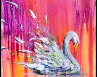 Swan Art Print - Swan Wall Art - Wall Decor - Bird Art - Swans