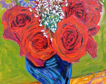 Vase of Red Roses - 8 in. x 10 in. Signed Print