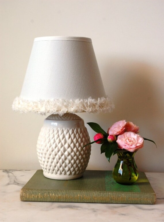 Small Table Lamp Boudoir Lamp Ivory Shabby Chic White By