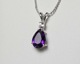 Natural Amethyst and Sapphire Necklace Silver / Amethyst and Sapphire Pendant Necklace Sterling Silver