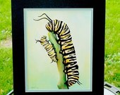 Monarch Butterfly Caterpillars Original Acrylic Painting with Mat