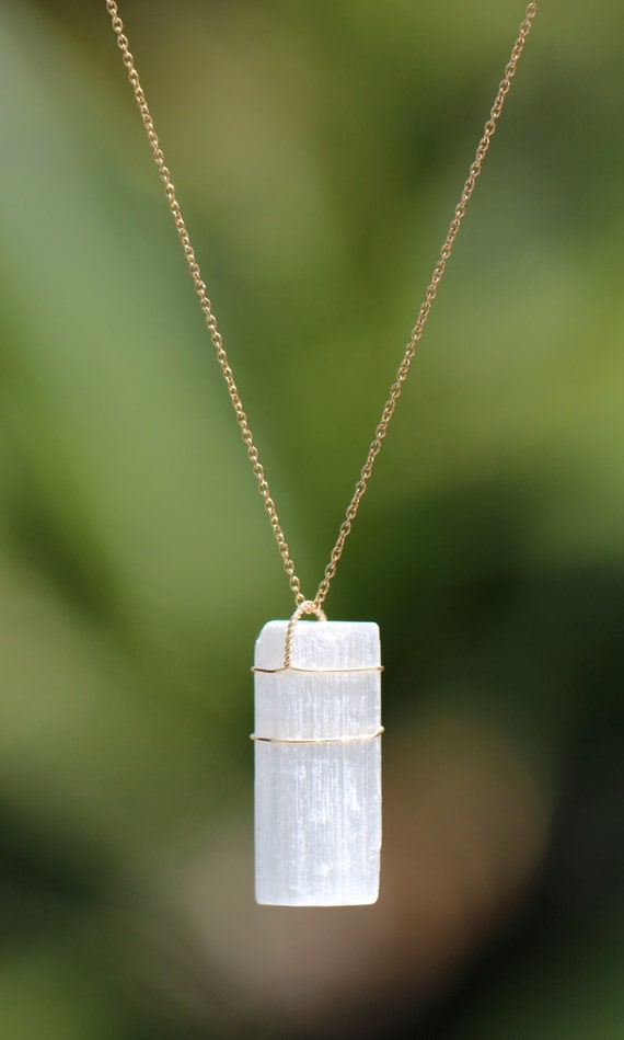 Selenite necklace - crystal necklace - a beautiful gold wire wrapped selenite wand on a 14k gold vermeil chain