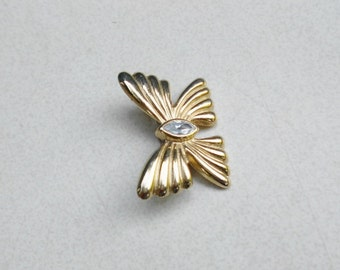 1960s Bow and rhinestone brooch a sweet vintage pin