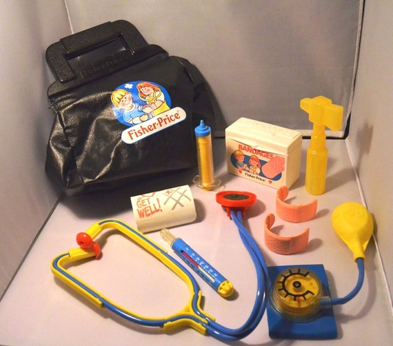 Vintage 1987 Fisher Price Children's 10 Piece Doctor's Kit, Kid's Toy, Fisher Price Medical Kit, Vintage Doctor's Kit Toy,