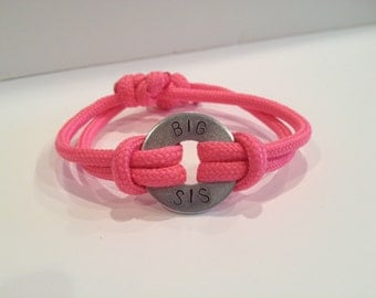 SIBLING Bracelet - Personalized One Washer Double Strap Paracord Bracelet - Mother's Day, Child's Names, Sport Mom, Military Family