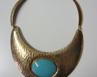 SALE!! Huge Vintage 1960's Statement Choker Necklace Gold Textured Egyptian Turquoise