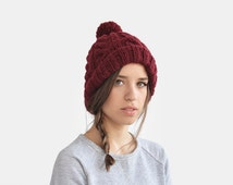 Hand Knit Beanie in Burgundy, Cable Knit Womens Winter Hat with Pom Pom, Unisex Ski Hat, Mens Wool Hat, Custom Color