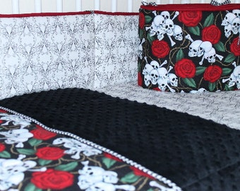 Baby Bedding Set, Skulls N Roses Crib Set,