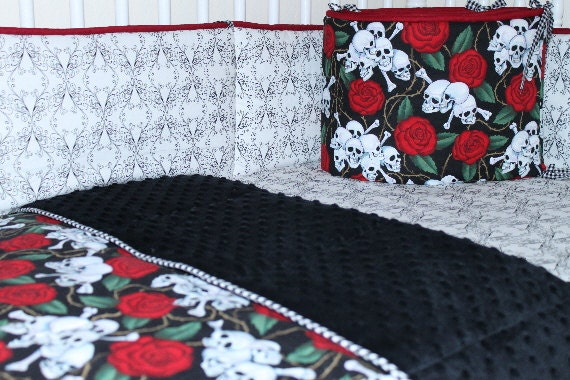 Baby Bedding Set Skulls N Roses Crib Set Goth/Punk by RisaGBaby