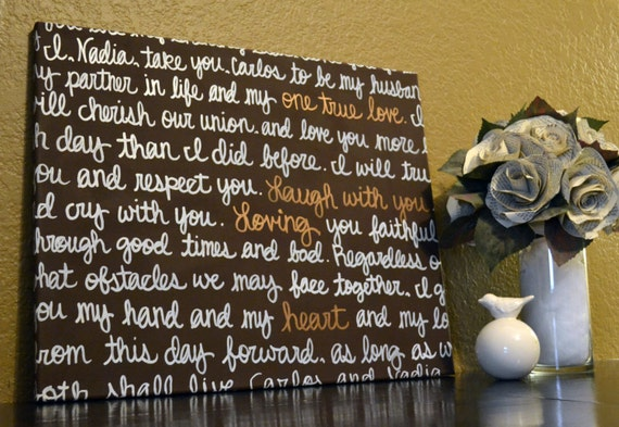 Wedding Vows Gift: Wedding Vows Wall Art Painting Anniversary Gift By