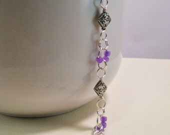 """8"""" Decorative Jump Ring Bracelet with Lilac Matsuno Beads"""