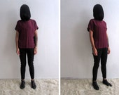 VTG Burgundy Silk Blouse - Minimalist Plum Top