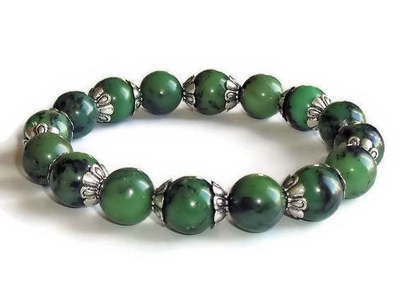 chunky green opal gemstone stretchy stacking by evealojane