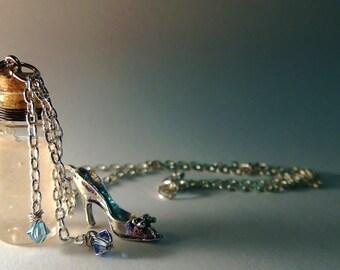 Cinderella Vial Necklace - Disney Inspired - Handmade, Corked Glass Bottle - Silver Slipper Shoe Charm