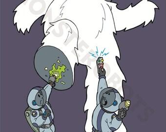 "Part robot, part monster - All Yeti, Art - ""Attack of the Yeti-Bot"" - 13x19 Digital Print"
