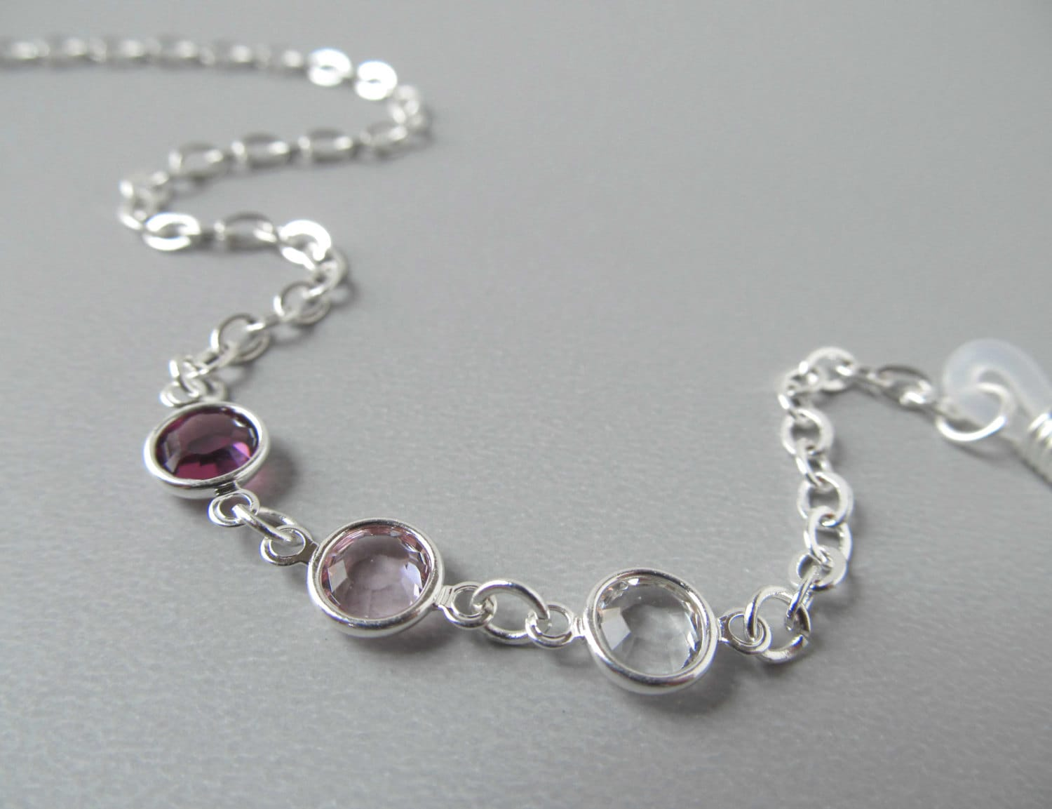 silver eyeglass holder necklace purple crystals eye by