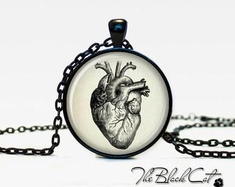 Vintage anatomical heart pendant anatomical heart necklace anatomical heart jewelry for men