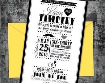 Printable Vintage Playbill Wedding Invitation