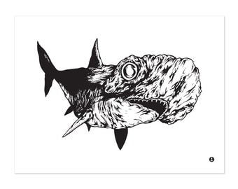 Hammer Head Shark, Pen and Ink Illustration, Black and White, Nautical, Art Print 16x12
