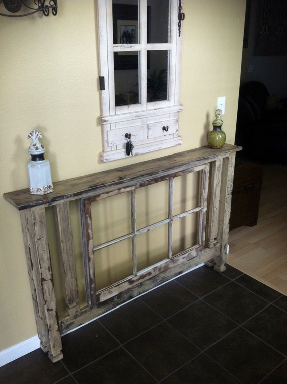 Items Similar To Entry Table With Antique Window Inlay On Etsy
