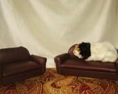 Guinea Pig, Ferret Brown Loveseat - Bed Furniture