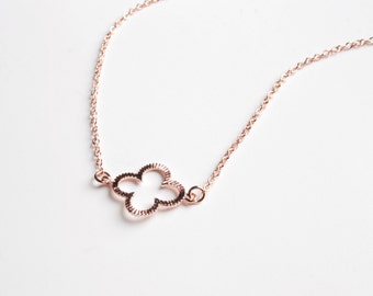 Clover Necklace, Rose Gold Filled Chain Or 14K Gold Filled Chain Or Sterling Silver Chain, Lucky Four Leaf Clover Necklace, Wedding