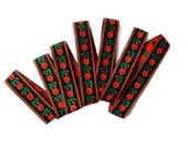 Woven Jacquard Ribbon Trim with red flowers and green leaves on black red background