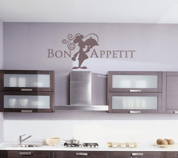 Kitchen Vinyl Wall Decals Bon Appetit Chef Kitchen Wall