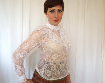 Biba Blouse 80s White Lace and Frilly Frilled Seethrough