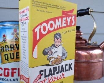 Toomey's Famous Flapjack Flour Pancake Mix advertising Box from Toomey's Mills Wyoming