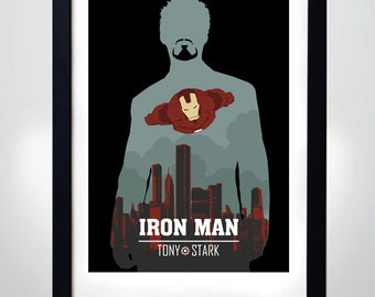 IRON MAN, Tony STARK, Wall Art Print Movie Poster (selectable size)