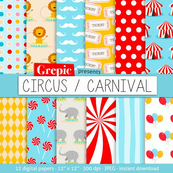 Printable Birthday Party Invitation Card Detroit Lions: Digital Paper Circus: CIRCUS CARNIVAL With Circus