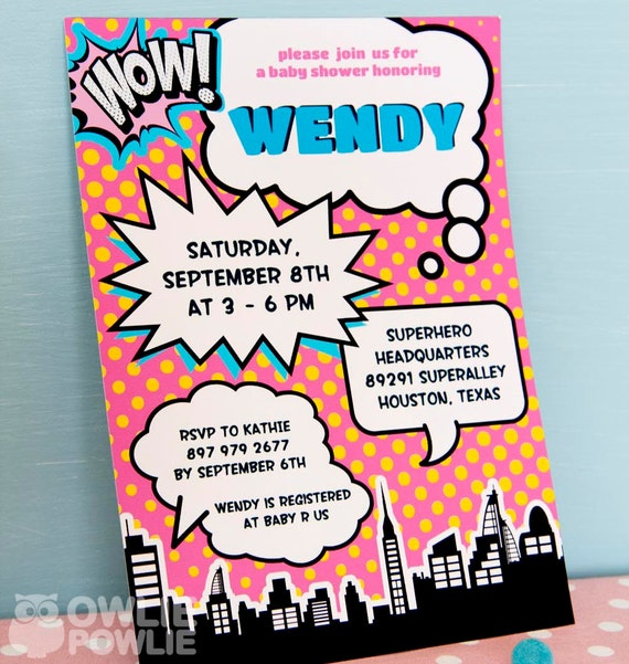 Superhero BABY Shower Party Pink Printable 5 x 7 inch Invitation