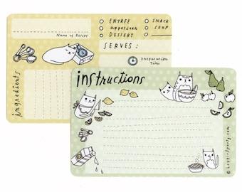 Blank Recipe Cards Recipe Handmade Paper Goods Kitchen Cat Recipe Card
