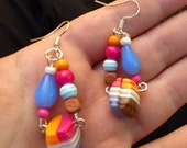 Funky Random Multi-Coloured Plastic Earrings - Abstract geometric shapes - blue, hot pink, white, orange, brown beads - unusual, unique, fun