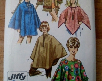 Poncho, Cape or Towel Jacket / Cover up -  Vintage Simplicity 8850 Pattern 1970's