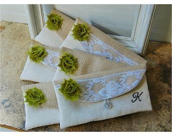 burlap lace bag, clutch set 3 4 5 6, rustic wedding, rose color choice, clutch purse, Personalize, Bridesmaid gift, MakeUp, raw cotton linen