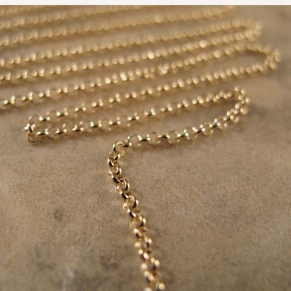 Ten Feet of Gold Rolo Chain, 10 Feet, Vermeil 1.6mm Rolo Chain, Thin Gold Chain for Making Jewelry, Everyday Necklace (970i)