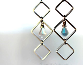 Labradorite jewelry Labradorite earrings oxidized sterling silver squares - geometric gothic jewelry black teal blue pagan jewelry - Asteria