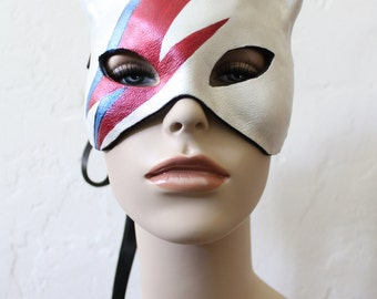 Kitty Stardust -  Leather Cat Mask- Hand Painted Tribute to David Bowie - Ready to ship