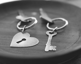SALE: sterling silver hold the key to my heart keychains (heart with keyhole and heart skeleton key)