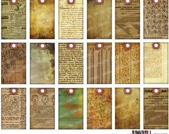 """PAPER SCRAP TAGS - Digital Printable Collage Sheet - Vintage Grunge Distressed Hang Tags with Old Book Pages & Handwriting, 1.5"""" x 2.5"""""""