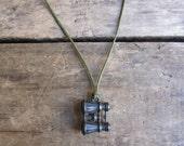 antique c. 1920s metal binoculars charm necklace // premium Cracker Jack prize