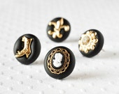 Victorian Pushpins Home Office Gift Set of 4 in Metallic Gold and Black Polymer Clay. Cameo, Laceup Boot, Fleur de Lis and Brooch