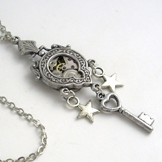 Steampunk Clockwork Necklace - Silver Steampunk Airship Medal