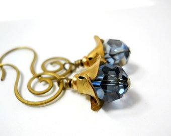 Brass Crystal Swirl Earrings, Montana Blue Crystal, Vintage Brass Petal Caps and Swirled Earwires, Victorian Inspired, Spring Fashion