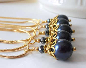 Navy Blue Bridal Jewelry Bridesmaid Necklaces Pearl Pendant Navy and Gold Nautical Wedding Dark Blue Bridal Party Jewelry Sets
