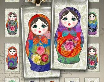 MATRYOSHKA - 1x2 inch Digital Collage Sheet Printable Download for domino pendants, bezel settings, magnets, Russian nesting dolls. ArtCult