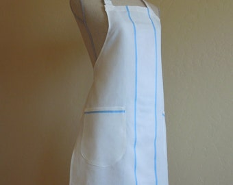 Linen Apron White with Light Blue Stripes and Pockets