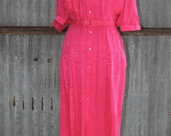 1980s Vintage Dress - Hot Pink - Fuchsia Silk Dress by Argenti -  Pink Silk Dress - Semi Formal Dress - Church Classic Traditional - 36 Bust